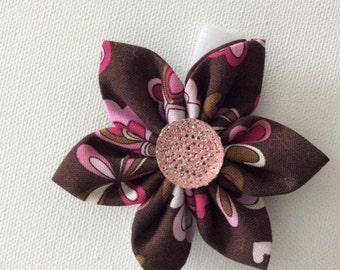 Brown Dog Collar Flower with Rhinestone- Ready to Ship