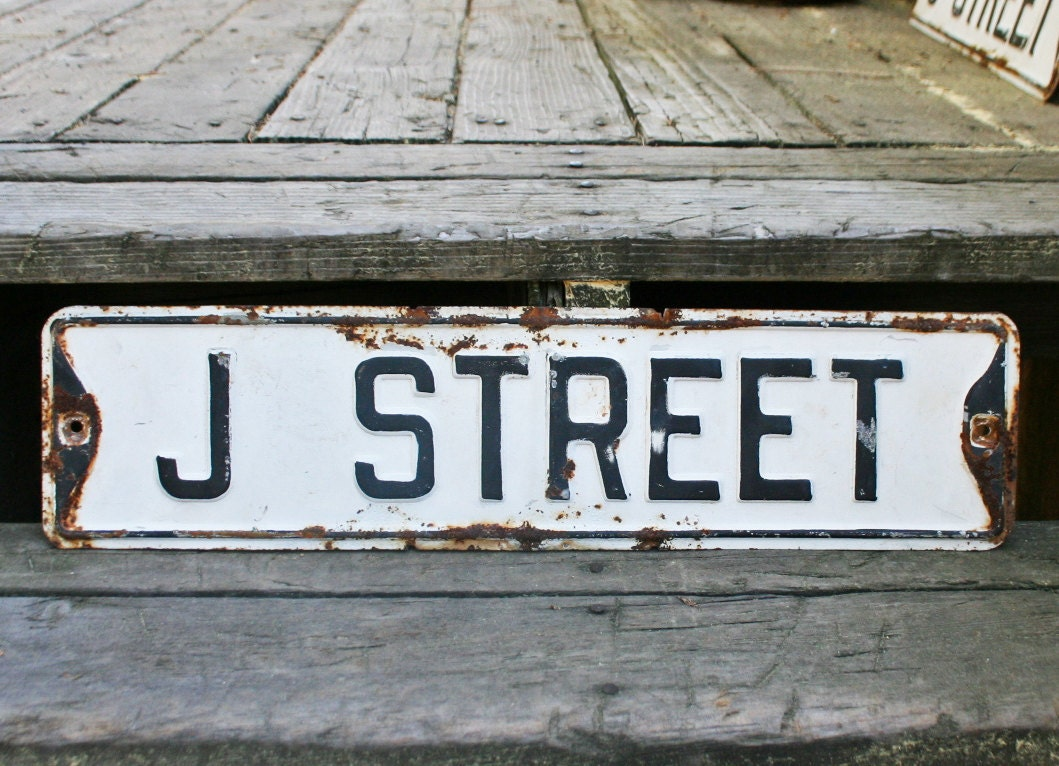 Vintage Black And White Street Sign J Street