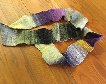 Multi-color Neck Wrap in cotton, wool, nylon and silk blend.  Knit in a beautiful linen stitch.