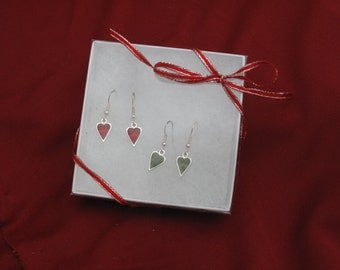 Red and Green dangle heart Valentine's Day earrings, Two pairs