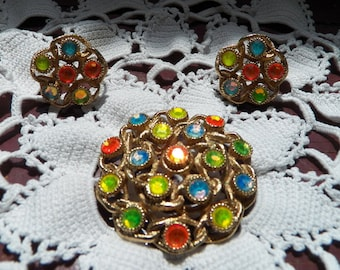 Lovely Sarah Coventry Moon Lites Pin and Earrings