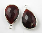 Garnet -Bezel Gemstone Pendant-Faceted Teardrop Charm-Sterling Silver Frame-Jewelry Charms and Pendants-22mm-201110-GAR-(1 pc)