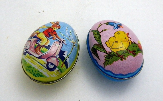 Vintage 1950's Tin Litho Easter Egg Containers