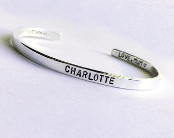 Sterling Silver Cuff Bracelet, Name Bracelet, Mantra Jewelry, Personalized Silver Cuff