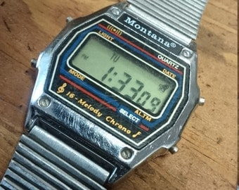 Vintage digital mens watch MONTANA Quartz 7 Melodies LCD watch