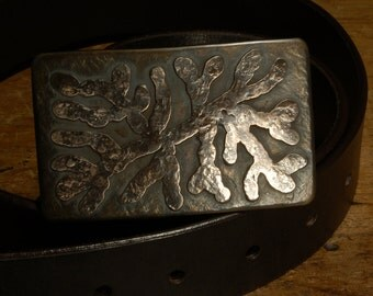 "Canadian ROOTS Belt Buckle Bronze Organic Stainless Steel 3-1/4""X 2"" Belt Buckle for Jeans Designed & Signed Canadian Artist Robert Aucoin"