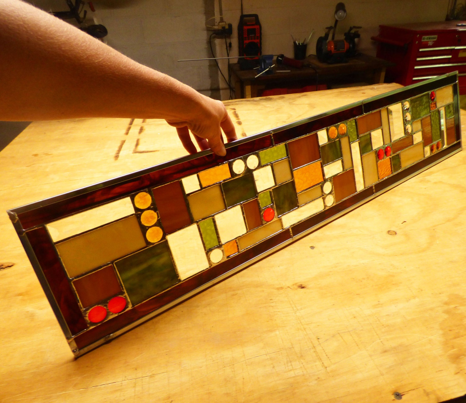 Custom Sidelight Stained Glass Panel Or Transom Contemporary