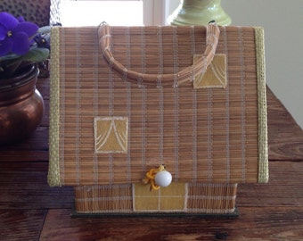 Little Vintage straw house purse / pocketbook / made in Japan