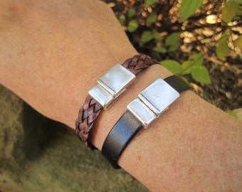 Magnetic Clasp Genuine Leather Bracelet