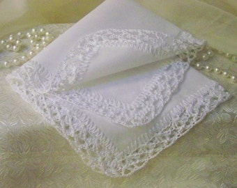 White Lace Handkerchief, Hanky, Lacy, Hand Crochet, Bridal, Religious, Monogrammed, Personalized, Embroidered, Ladies handkerchief