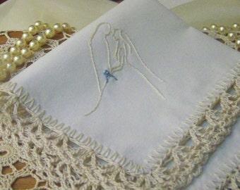 Bridal Handkerchief, Hanky, Hankie, Something Blue, Bridal Keepsake, Hand Crochet, Lace, Personalized, Monogrammed, Embroidered, Silhouette