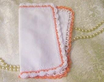 Small Handkerchiefs, Hankies, Hanky's, Petite, Hand Crochet, Peach, White, Cotton, Ladies, Personalized, Monogram, Embroidered, Peach, White