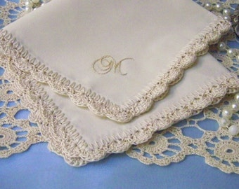 Monogrammed Handkerchief, Hanky, Hankie, Personalized, Embroidered, Hand Crochet, Lace, Ladies, Scalloped, Ecru, Off White, Ready to ship