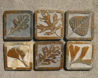 4x4 Assorted Leaf Tiles - Etched Decorative Tumbled Slate Tile Set - Handmade