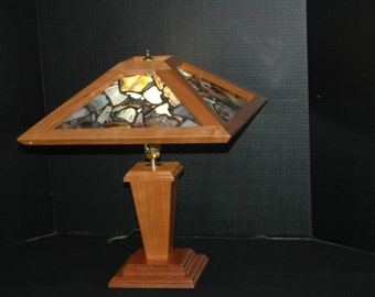 Montana Agate & Cherrywood Table Lamp