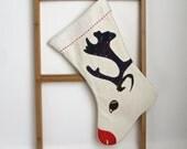 rudolph the reindeer christmas stocking, Ready to ship, kids stocking, children stocking, holiday stocking, organic,  Eco friendly