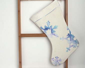 Christmas stocking, READY TO SHIP blue snowflakes christmas stocking, organic, holiday decor natural Eco friendly 6