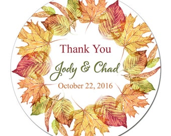 Custom Wedding Labels Personalized Autumn Leaves Wreath Fall Leaf Round Glossy Designer Stickers - Quantity 100