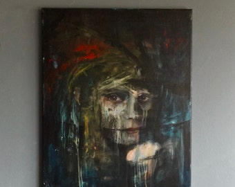 In Hiding -original acrylic portrait painting on canvas
