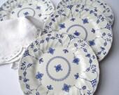 Reserved for Harry Vintage Salem Yorktown Olde Staffordshire Blue White Floral Salad Plates Set of Four
