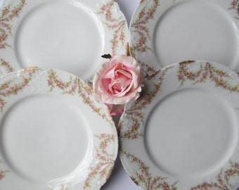 Vintage Haviland Limoges Pink Rose Luncheon Plates Set of Four French Weddings Bridal Tea Parties