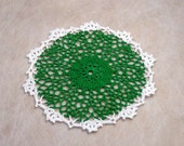 Irish Spring Crochet Lace Doily, Table Accessory, New St Patrick's Day Home Decor
