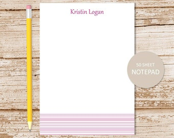 personalized striped notepad . stripes notepad.  striped note pad . personalized stationery . striped border stationary