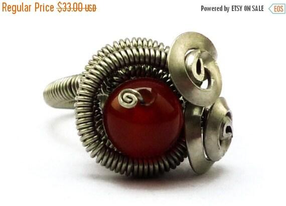 ON SALE Steampunk Ring Red Carnelian Ring Wire Wrap Ring Spiral Ring Rocker Ring Gemstone Ring Red Stone Ring Wrapped Ring Spiral Ring Twist
