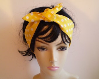 Yellow White Polka Dot Head Scarf, Yellow and White Dot Head Scarf, Polka Dot Head Scarves, 1950s Head Scarf
