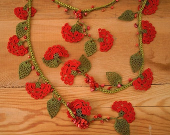 red crochet lariat necklace