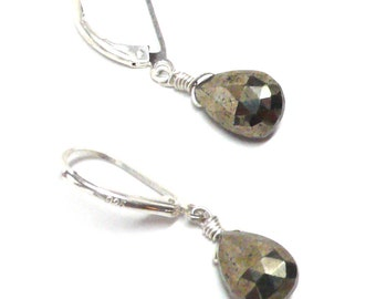 pyrite fool's gold briolette lever back earrings gold-filled, sterling silver, oxidized sterling, copper or gunmetal