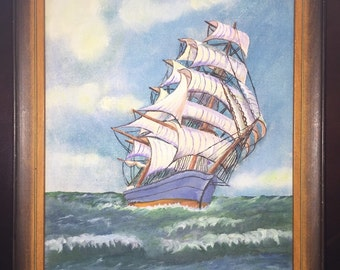 Charming Signed Vintage Oil Painting- Ship