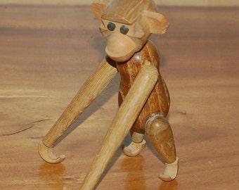 "Vintage Teak Monkey ~ Zoo Line Style ~ 6.5"" Hanging ~ 2nd of 2 ~ Hans Bolling ~ ERA ~ Danish Modern ~ Mid Century ~ Bojesen Era"