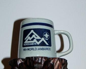 Nordjamb 1975 ~ 14th World Scout Jamboree Porcelain Mug ~ Boy Scout Jamboree held on 7/ 29 to 8/ 7 1975 @ Lillehammer Norway