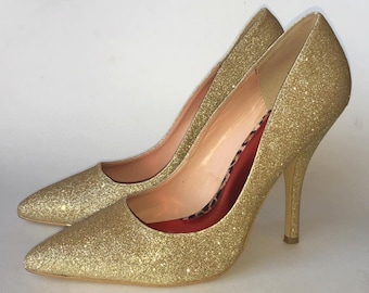 Vintage Fredericks of Hollywood Gold Glitter High Heel Stiletto Shoes size 9