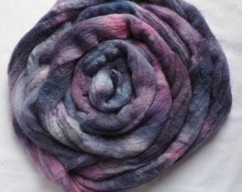 Hand Dyed Wool Roving, Corriedale, Grapes for a Snack, Purple Pink Blue