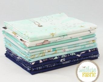 """Magic - Aqua - Fat Quarter Bundle - 11 - 18""""x21"""" Cuts - Sarah Jane - Michael Miller Quilt Fabric"""