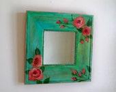 Shabby chic wall decor, bedroom wall art, small square mirror, Boho chic mirror,  Cottage decor, floral wall art, bedroom decor