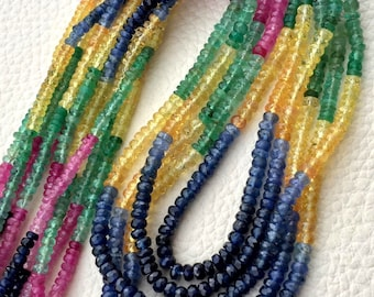 AAA quality, 5 Strands Necklace ,Rare Natural MULTI PRECIOUS Stone Rondells,Emerald,Ruby,Sapphire,Superd Item at Low Price