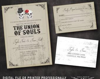 Grunge Wedding Invitation SET | Fall Wedding Invitation | Printed Invite | Vintage Wedding Invitation | Skull Invitation | Halloween wedding