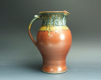 Handcrafted pottery pitcher, stoneware vase 1.5 qt. iron red 3444