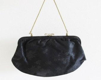 40% OFF SALE Vintage 1950's Black Brocade Clutch Purse / Formal Black Bow Evening Bag