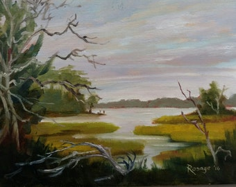 Cedar Point Marsh... NC Landscape... Original Daily Painting by Rosage...6x8""
