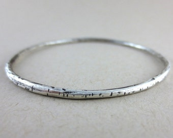 Oxidized Sterling Silver Round Branch Bangle