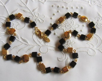 Vintage Choker Style Gold and Black Beaded Necklace