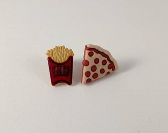 Fast Food Jewelry, Fun Junk Food Earrings, Button Earrings, Pizza Earrings, French Fry Earrings