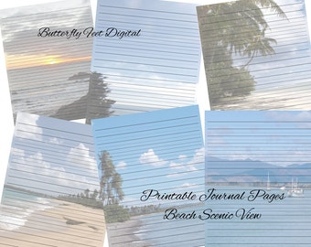 Printable Art Journal Pages, Lined Writing Paper, Printable Stationery, Beach Photography, Instant Download