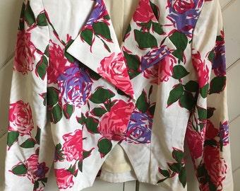 Floral Jacquard Crop Blazer
