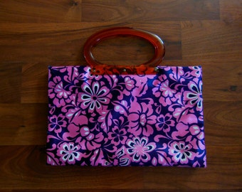 Lady's Pride Vintage Expandable Tote Bag Handbag Navy Blue Bright Pink White