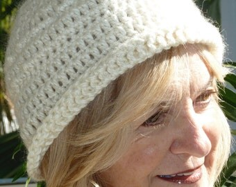 Women's Crochet Hat / Women's Fashion / White Crochet Hat / Unique Winter Accessories / Bohemian Clothing / Hat with Whimsical Bauble